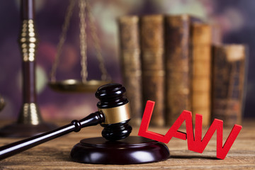 Law and justice concept, wooden gavel
