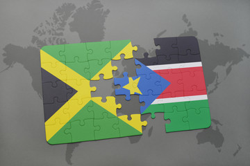 puzzle with the national flag of jamaica and south sudan on a world map