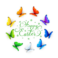 Easter lettering and butterflies on white background