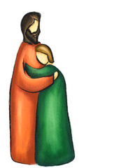 Good father and prodigal son. Concept of God's forgiveness and love. Abstract religious christian Bible illustration.
