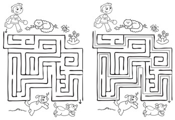 Solved maze labyrinth game for kids. A boy have to find the right way. Coloring vector.