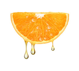 drops of juice falling from orange half isolated on white background