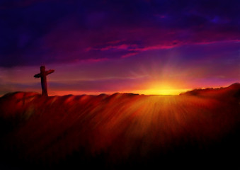 Cross on a hill at dawn. Dark abstract artistic watercolor style illustration of Calvary hill on Easter morning.