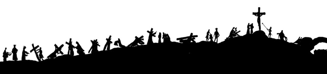 Way of the cross or stations of the cross silhouettes of Jesus Christ carrying his cross on Calvary hill. Abstract religious Lent illustration.