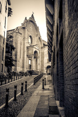 Bologna black and white San Giovanni in Monte church