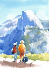 Watercolor Landscape with People and Blue Mountains on the Background Hand Painted Illustration