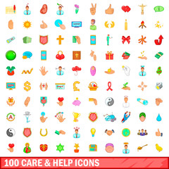 100 care and help icons set, cartoon style