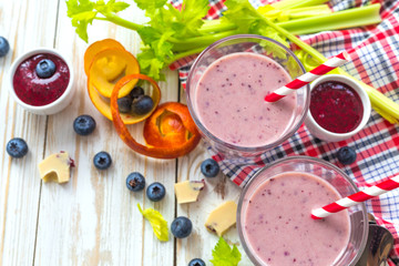 Blueberry and blood orange smoothie with celery and chocolate