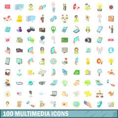 100 multimedia icons set, cartoon style