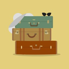 Three suitcases, hat and sunglasses on yellow background. Vector illustration.