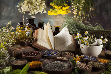 Herbal medicine and book on wooden table background