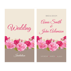 Wedding invitation, thank you card, save the date cards. EPS 10