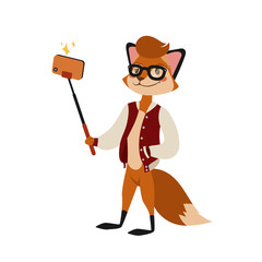 Funny picture fox photographer mamal person take selfie stick in his hand and cute animal taking a selfie together with smartphone camera vector illustration.