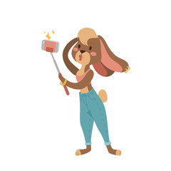Funny picture rabbit photographer mamal person take selfie stick in his hand and cute animal taking a selfie together with smartphone camera vector illustration.
