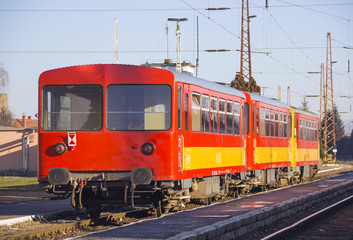Train on the railway station in Hungary
