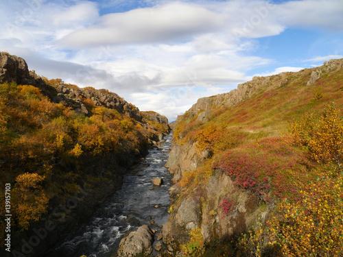 Flusslandschaft Im Westen Von Island Im Herbst Stock Photo And