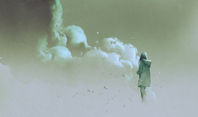 alone woman standing in front of smoke,illustration painting