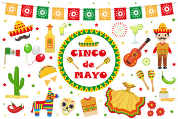 Cinco de Mayo celebration in Mexico, icons set, design element, flat style.Collection objects for Cinco de Mayo parade with pinata, food, sambrero, tequila cactus, flag. Vector illustration, clip art