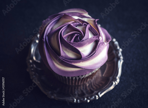 """Single purple rose cupcake"" Stock photo and royalty-free ..."