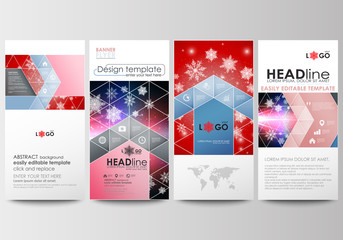Flyers set, modern banners. Business templates. Cover design template, easy editable, abstract flat layouts. Christmas decoration, vector background with shiny snowflakes.