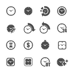 business time clock icon set vector