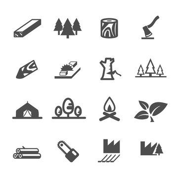 wood lumber mill saw tree cut icon set vector