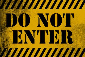 Do not enter sign yellow with stripes