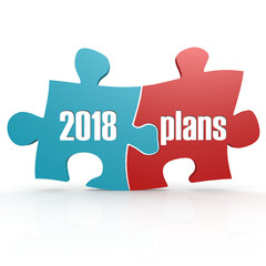 Blue and red with 2018 plans puzzle