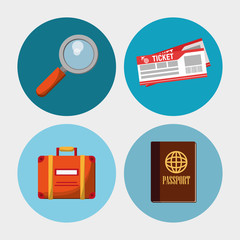 set travel vacation objects vector illustration eps 10