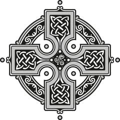 Vector illustration of a decorated celtic cross