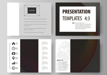 Set of business templates for presentation slides. Easy editable vector layouts in flat design. Dark color modern abstract background with colorful circles.