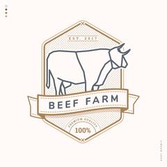 beef farm linear logo