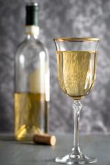 White wine on grey background