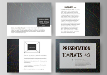 Business templates for presentation slides. Easy editable layouts in flat design. Colorful dark background with abstract lines. Bright color chaotic, random, messy curves. Colourful vector decoration.