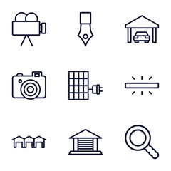 Set of 9 detail outline icons
