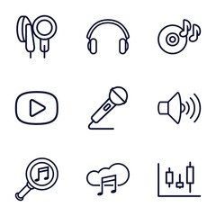 Set of 9 audio outline icons