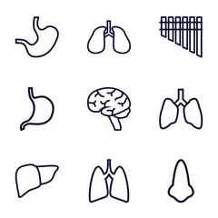 Set of 9 organ outline icons