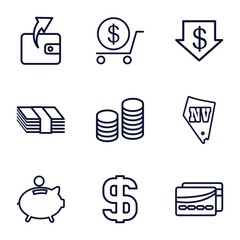 Set of 9 cash outline icons