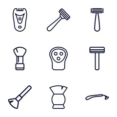 Set of 9 shaving outline icons