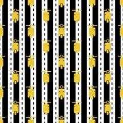 seamless yellow motorcycle pattern on stripe background