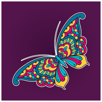 Vector illustration of a colorful butterfly