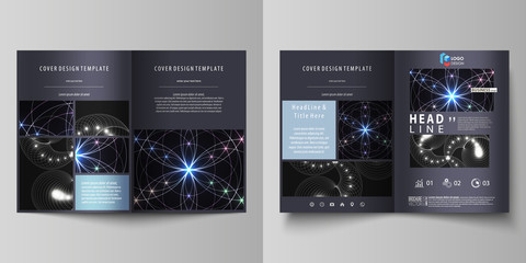 Business templates for bi fold brochure, magazine, flyer, booklet, report. Cover design template, vector abstract layout in A4 size. Sacred geometry, glowing geometrical ornament. Mystical background.