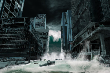 Cinematic Portrayal of a City Destroyed by Tsunami
