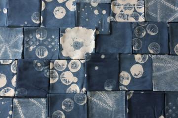 Thai indigo natural dye , Color shade and texture of fabric from blue indigo natural dye , Concept fashion