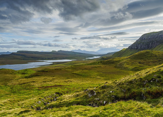 View from The Storr towards the Loch Leathan, Isle of Skye, Inner Hebrides, Scotland, United Kingdom, Europe