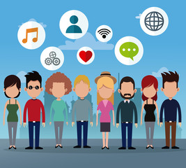 people group social network media icons vector illustration eps 10