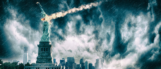 Statue of Liberty destroyed by a meteor | New York city Apocalypse Wall mural