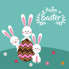happy easter bunnies chocolate egg floral vector illustration eps 10