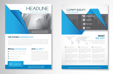 Vector Brochure Flyer design Layout template, size A4, Cover annual report, triangles design, blue color front page and back page,Easy to use and edit.