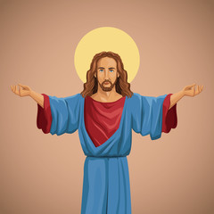 jesus christ religious image blessed vector illustration eps 10